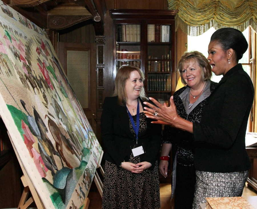 Michelle Obama Views Ros Tapestry Panel at Farmleigh